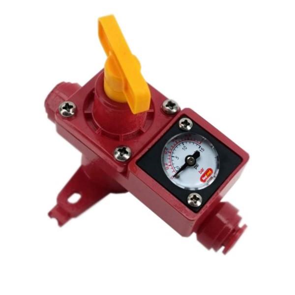 einstellbares Druckbegrenzungsventil mit Manometer