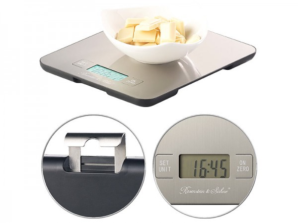 Digitale Edelstahl-Küchenwaage mit Timer, bis 15 kg, auf 1 g genau