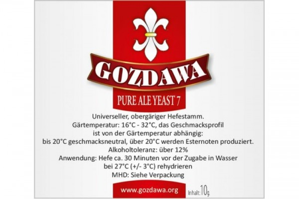 GOZDAWA Pure Ale Yeast 7 (PAY7)- obergärige Trockenhefe 10 g