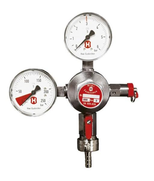 CO2-Druckregler mit 2 Manometern und 1 Ausgang
