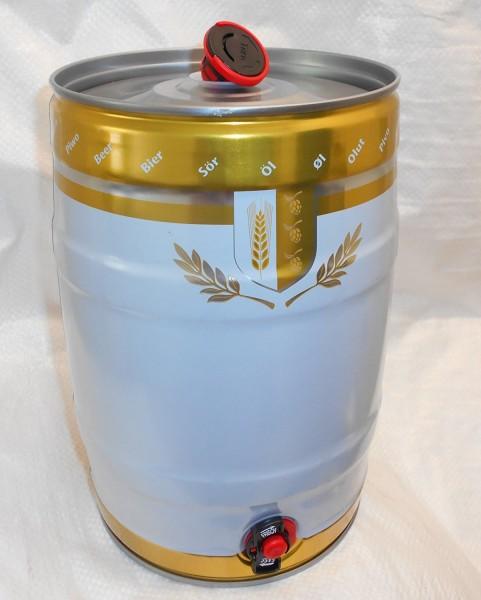 5 Liter Partyfass aus Metall mit Auslaufhahn und Kombistopfen weiß/gold