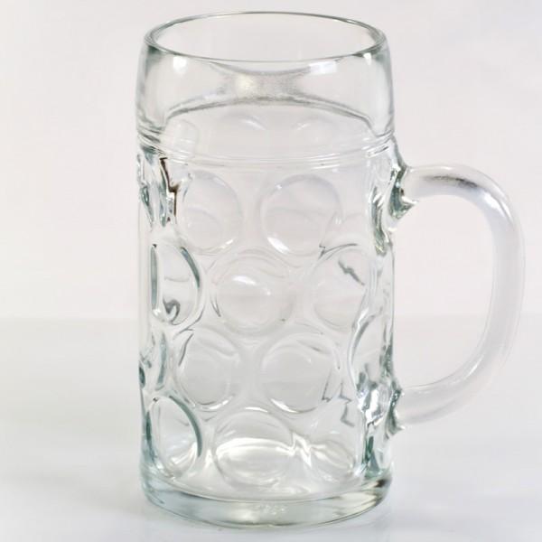 1,0 Liter Werbefreier Maßkrug Bierseidel aus Glas