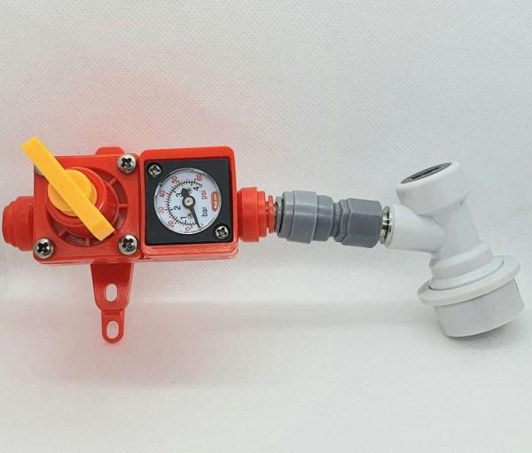 Spundungsventil mit Manometer, Steckkupplung und Druckregler