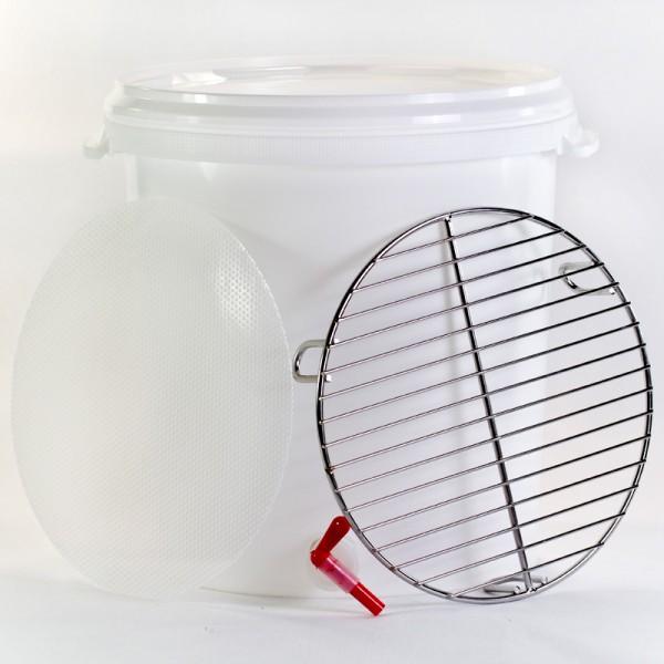 30 L Läuterbottich mit speziell herausnehmbaren perforiertem Filterboden sowie Zapfhahn