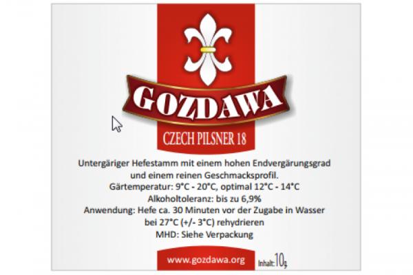 GOZDAWA Czech Pilsner 18 - untergärige Trockenhefe 10g