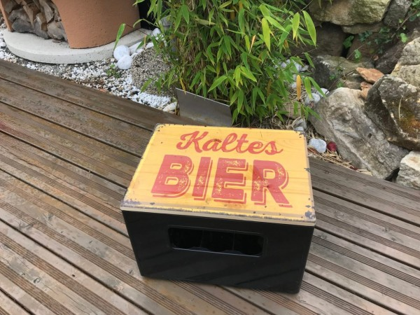 Bierkasten Sitz Motiv ,Sitzauflage für Bierkasten aus Holz im Vintage Style