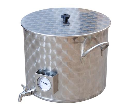 Bierbraukessel 35L Edelstahl mit Auslauf und Thermometer