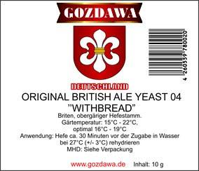 "GOZDAWA Original British Ale Yeast 04 ""WITHBREAD"" - Obergäriger Trockenhefe 10g"