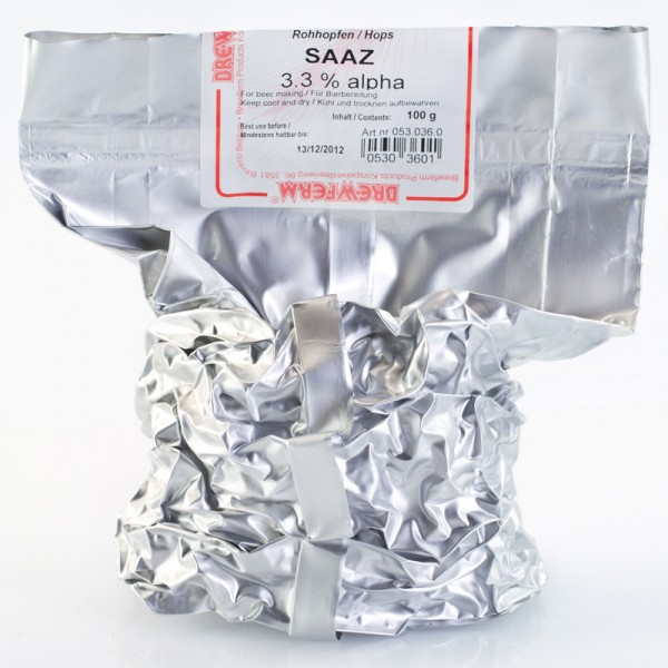 100g Saaz - Rohhopfen zum Bierbrauen, Alfasäurengehalt 3,5%