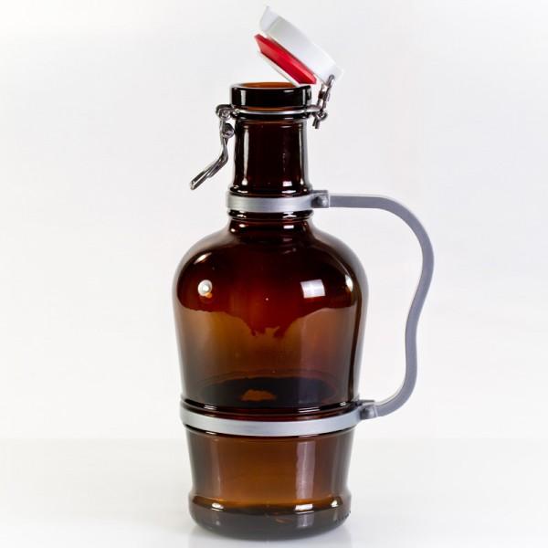 Nestor Biersiphon mit Metall-Henkel 2 Liter braun
