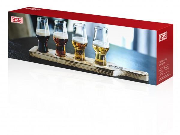 """RASTAL Probier - Biergläser """"Beer Flight"""" Set 4 x 0,195l + Tasting-Brett Holz geflammt"""