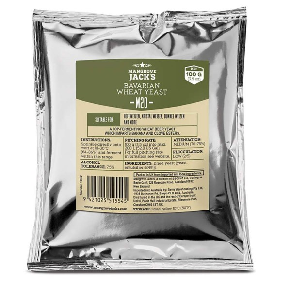 100 g Trockenhefe - Mangrove Jack's M20 - Bavarian Wheat