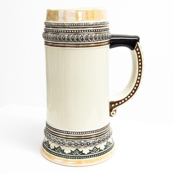 1,0 Liter Biermaßkrug aus Keramik mit Goldrand
